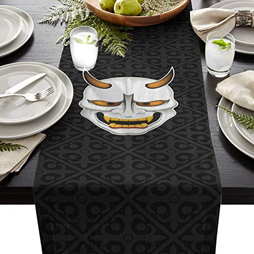 Linen Burlap Table Runner Dresser Scarves, Halloween Japanese Ghost Mask Kitchen Table Runners for Dinner Holiday Parties, Wedding, Events, Decor - 13 x 70 Inch -
