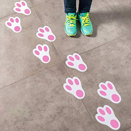 Easter Bunny Paw Print Floor Decals Stickers for Easter Party Decoration/ Easter Egg Hunt(1 Dozen) ()