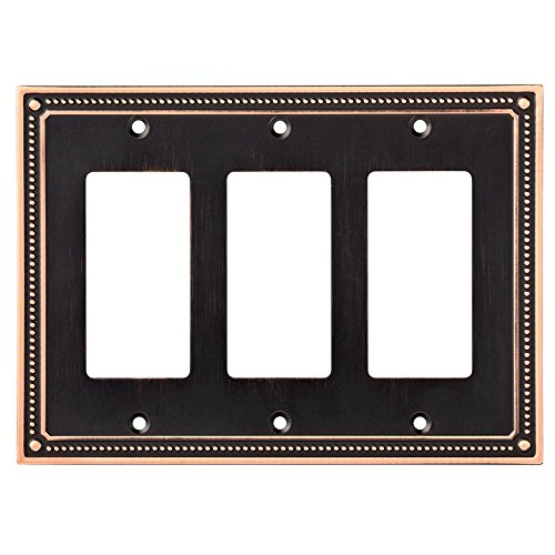 Franklin Brass W35067-VBC-C Classic Beaded Triple Decorator Wall Plate / Switch Plate / Cover, Bronze with Copper Highlights - Bronze Cover Plate