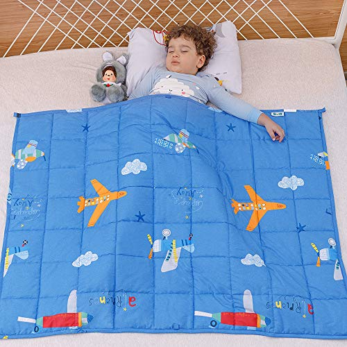 Wemore Kids Weighted Blanket 5 lbs 36 x 48 inches,100% Natural Cotton and Premium Glass Beads Heavy Weight to Relax and Stimulate Quality Sleep, Blue Airplane