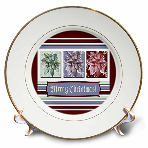 3dRose Beverly Turner Christmas Design - Poinsettias in Green, Lavender, and Red, Frame, Merry Christmas - 8 inch Porcelain Plate (Lavender Clock Plate)