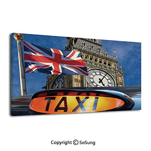 Home Decoration Painting Wall Mural Union Jack Flagon Pole and Big Ben Taxi Cab Urban Modern Country Symbols Image Living Room Dining Room Studying Aisle Painting,16x36inches Multicolor (Best Taxi App In Usa)