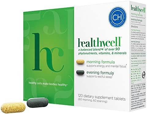 Healthycell Natural Anti Aging Multivitamin with Probiotics - Whole Food Sources - Antioxidants - Without Iron - Vegetarian - AM PM Formulas for Energy and Sleep - Men and Women Stem Cell Nutrition