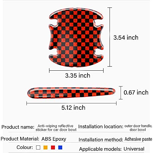 YA 3D Car Door Handle Door Bowl Scratch Sticker Guard Protector Safety Warning Reflective Paint Stickers Anti-Collision Body Carbon Fiber Strips Cover Guard for Car Decoration Accessories (Red)