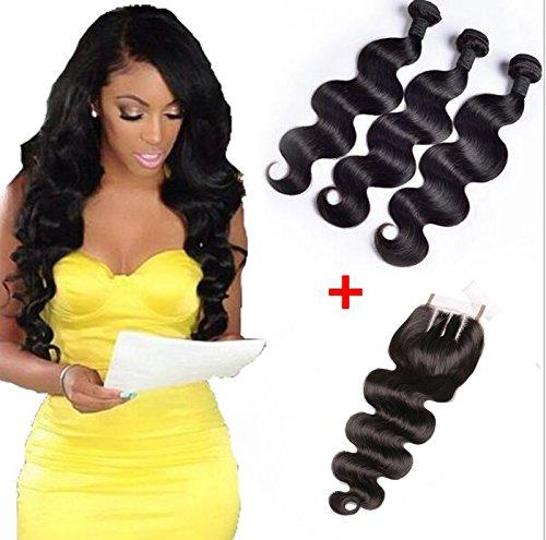 Brazilian Body Wave Human Virgin Remy Hair Weaves 3 Bundles With 4x4 Three Part Closures (18 20 22+16 Three part) Natural Black Color 100g/bundle