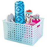 iDesign Spa Plastic Storage Organizer Basket with Handle for Bathroom, Health, Cosmetics, Hair Supplies and Beauty Products, 11.2' x 14.3' x 8.1', Light Blue