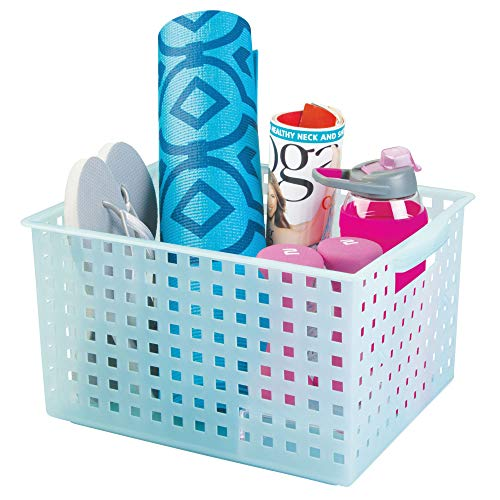 InterDesign Spa Plastic Storage Organizer Basket with Handle for Bathroom, Health, Cosmetics, Hair Supplies and Beauty Products, 11.2