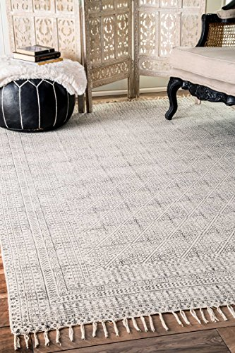(Flatweave Cotton Sparkling Moroccan Tribal Trellis Ivory Area Rugs, 5 Feet by 8 Feet (5' x)