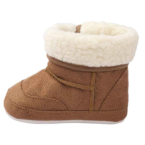 Voberry Baby Toddler Girls Boys Winter Outdoor Warm Snow Boots Soft Crib Shoes (0~6 Month, Coffee)