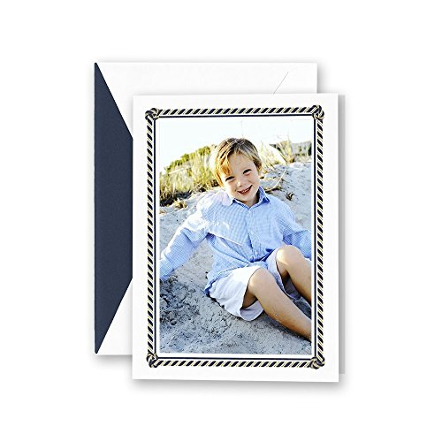 - Crane Engraved Nautical Frame Holiday Photo Mount Card, Set of 20 Cards