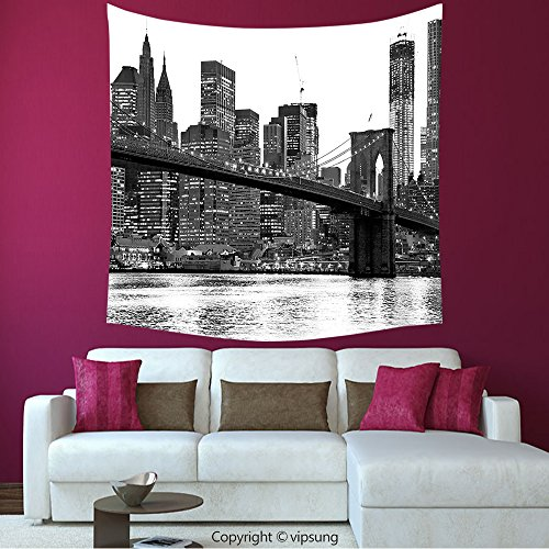 House Decor Square Tapestry-Modern Brooklyn Bridge Sunset With Manhattan American New York City Famous Town Image Black And White_Wall Hanging For Bedroom Living Room (Halloween Parade Brooklyn)