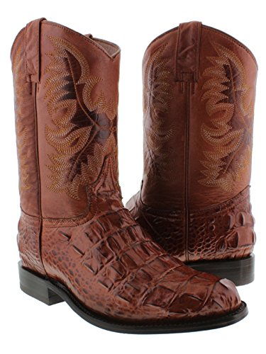 El Presidente - Men's Cognac Crocodile Back Cut Leather Cowboy Boots Roper 8.5 D(M) US