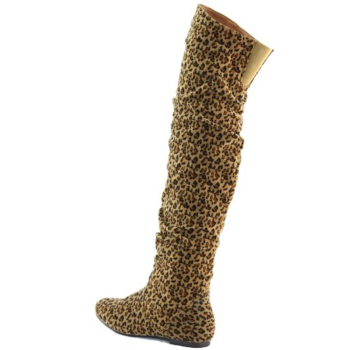 Heel US B Women's Shaft Hi Thigh 13 High Suede Fashion Over Boots Flat The DailyShoes M Slouchly Knee Low Leopard 47wFw