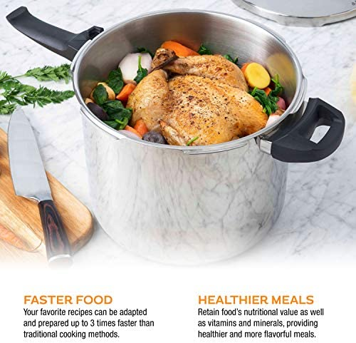 ZAVOR DUO COMBI 4.2 & 8.4 QUART MULTI-SETTING PRESSURE COOKER SET WITH STEAMER BASKET AND RECIPE BOOK - POLISHED STAINLESS STEEL (ZCWDU05)