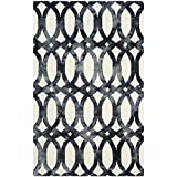 Safavieh Dip Dye Collection DDY675D Handmade Geometric Watercolor Ivory and Graphite Wool Area Rug (5′ x 8′)