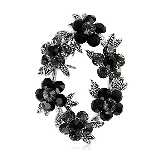 (Brooch Pin by DoubleAccent Austrian Crystal Clown Flower Bouquet Brooch Pin Pendant, Choice of Colors, Black)
