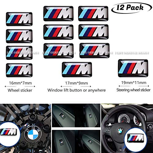 12pcs 3D Car Emblem Badge Sticker for BMW M,Upgrade your BMW button completely