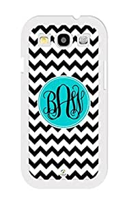 iZERCASE Monogram Personalized Black and White Chevron with Black Initials Pattern RUBBER Samsung Galaxy S3 Case - Fits Samsung Galaxy S3 T-Mobile, AT&T, Sprint, Verizon and International (White)