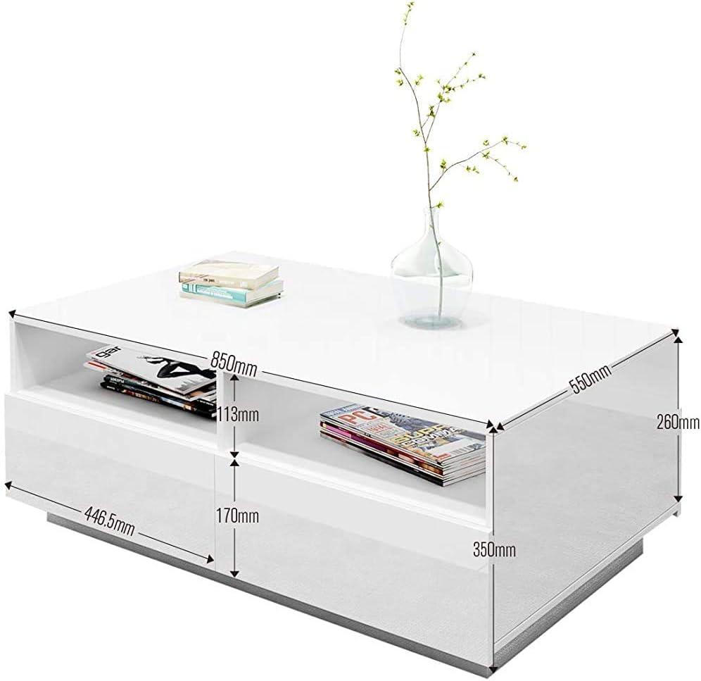style minimaliste Mobilier moderne pour la table basse du salon souligne 4 tiroirs avec table basse ouverte,White