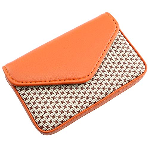 RuiLing 1-Pack Business Name Card Holder with Magnetic Closure, Perfect Gift - Multipurpose PU Leather Wallet Case for Credit Card ID Cards(Orange)