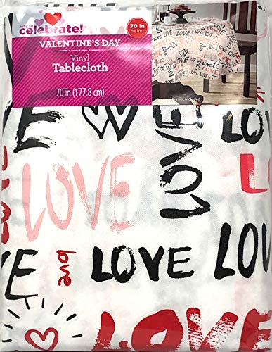 Celebrate! Valentines Day Vinyl Tablecloth Toss Font Words 70