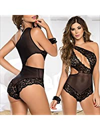 Sexy Lingerie Open The Crotch Exposed Three Sexy Lace Underwear Large Size Sexy Underwear Passion Suit (Color : Black, Size : XL)