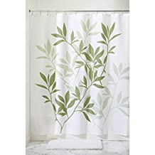 InterDesign Leaves X-Long Shower Curtain, Green, 72-Inch by 96-Inch