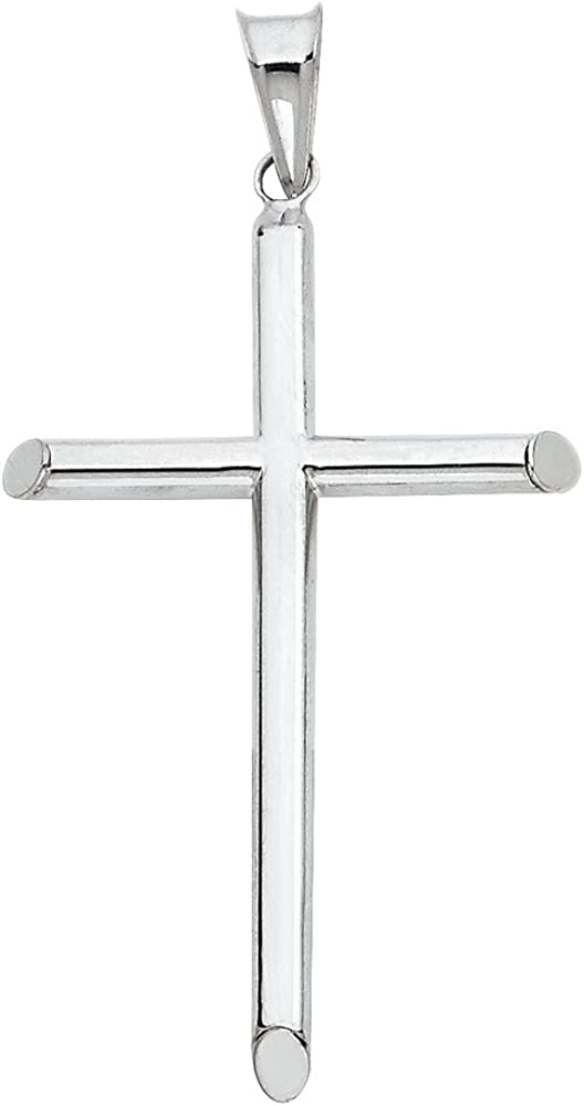 The World Jewelry Center 14k White Gold Religious Cross Pendant with 1.1mm Braided Wheat Chain Necklace
