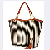Tobey New Fashion Stripe Design Women Street Snap Candid Tote Single Shoulder Canvas Bag Handbag Three Colors Available Red Blue Black (Black), Bags Central