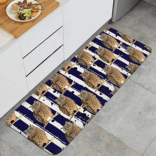 "Shirley Cute Owl 47"" 18"" Long Kitchen Mat Microfiber Rubber Backing Anti-Slip Water-Absorbent Anti-Fatigue Memory Foam Kitchen Rugs"