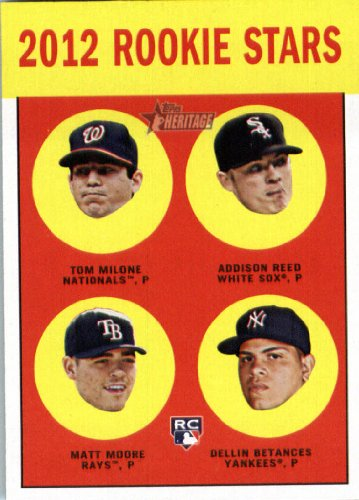 2012 Topps Heritage Baseball Card #286 Tom Milone RC / Addison Reed RC / Matt Moore RC / Dellin Betances RC - Tampa Bay Rays (RC - Rookie Card (Rookie Stars) - 286 Matt