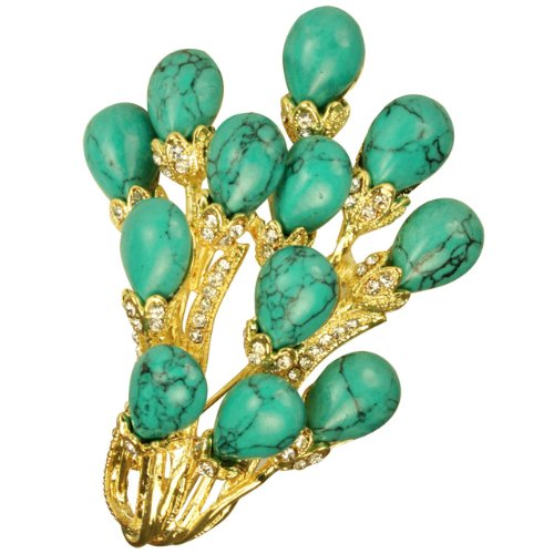 Dahlia Faux Turquoise Bunch Spray Crystal Gold-Tone 2 In 1 Brooch Pin Pendant