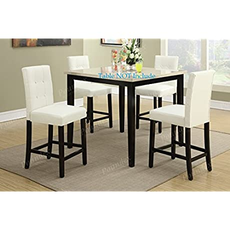 Set Of 4 Bar Stools White Faux Leather Parson Counter Height Chairs With High Back And Four Tuft Buttons