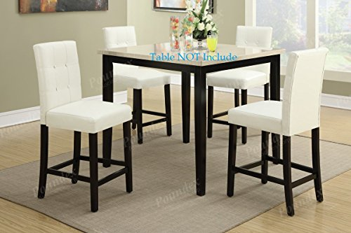Set of 4 Bar Stools White Faux Leather Parson Counter Height Chairs with High Back and Four Tuft Buttons by Advanced Furniture