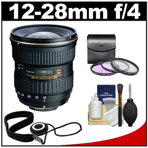Tokina 12-28mm f/4.0 AT-X Pro DX Digital Zoom Lens with 3 UV/FLD/CPL Filters Kit for Canon EOS 7D, 70D, Rebel T3, T3i, T4i, T5i, SL1 DSLR Cameras