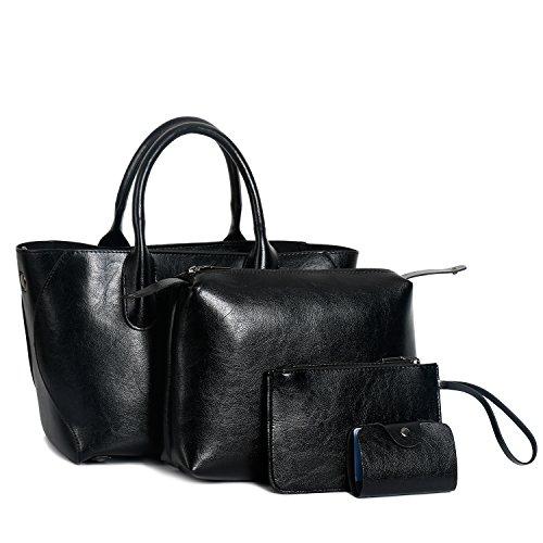 Bag Fashion for Ephraim ladies Shoulder Card b Holder Leather Handbags Black Bag 4pcs Handbags Purse Tote OwCqtCa