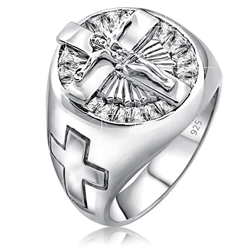 - Men's Sterling Silver .925 Jesus Cross Crucifix Ring with 22 Baguette Cubic Zirconia (CZ) Stones, Platinum Plated Jewelry (11)