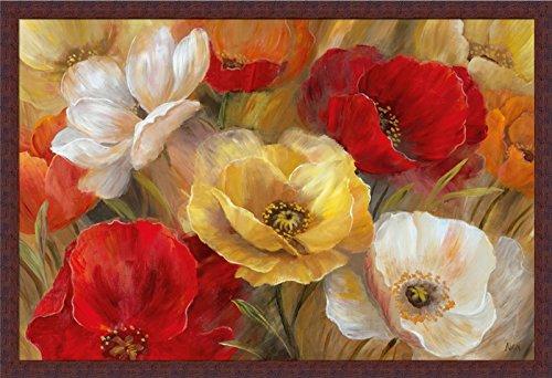 Jardin d'Or Nan Yellow Red Floral Framed Print Wall Art Decor (Jardine Florals Art)