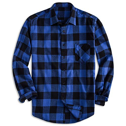 (PIZZ ANNU Men's 100% Cotton Long Sleeve Plaid Fleece Shirt Button Up Flannel Shirt(DTF04 M))