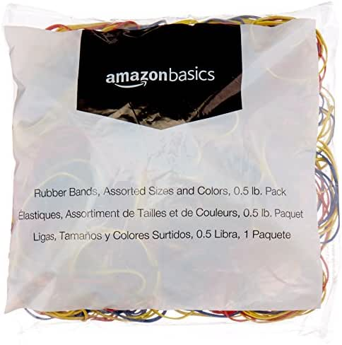 AmazonBasics Assorted Size and Color Rubber Bands, 0.5 lb.