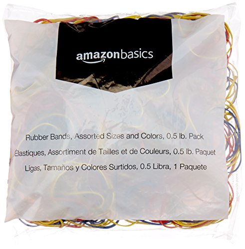 AmazonBasics Assorted Size and Color Rubber Bands, 0.5 lb. ()