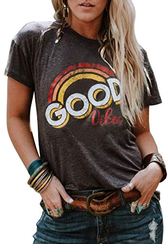 Vintage Ladies T-shirt - Good Vibes Rainbow T-Shirt Costume Women's Vintage Casual Graphic Blouse Top Tee (Large, Grey)