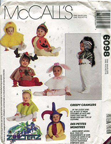 McCall's Pattern 6098 ZooTerz Creepy Crawlers Infants' and Toddlers' Hoods and Capes Costumes