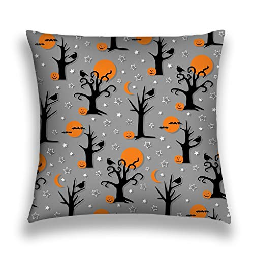 zexuandiy Throw Pillow Cushion Cover, Square Shaped, Decorative Square Accent Pillow Case, 18 X 18 inches, Multicolor Spooky Halloween Trees Birds Pattern Halftone ()