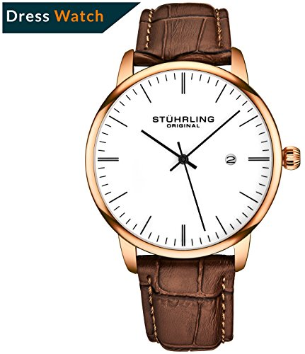 Original Wrist Strap (Stuhrling Original Mens Watch Calfskin Leather Strap - Dress + Casual Design - Analog Watch Dial with Date, 3997Z Watches for Men Collection (Rose Gold White))