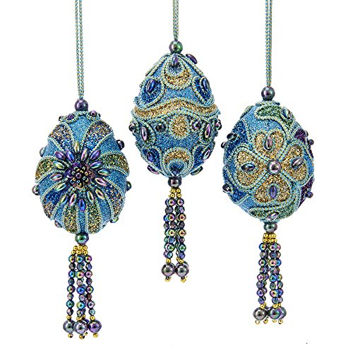 Kurt Adler PEACOCK MINIATURE EGG WITH TEAL CORDING, IRIDESCENT BEADS AND TEAL, GREEN, BLUE & LAVENDER GLITTER ORNAMENT - 3 ASSORTED