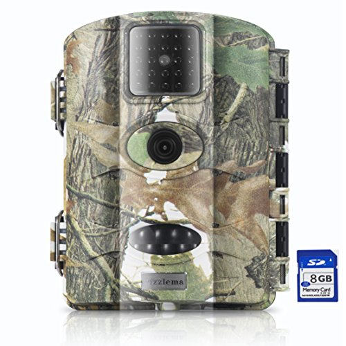 Trail Camera Vizzlema 12MP Wildlife Hunting Camera Game Camera Motion Activated 65ft Long Range No Glow Infrared Night Version with 2.4in LCD Screen Waterproof IP65(Free 8GB card)