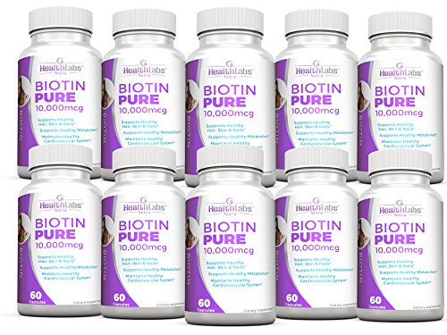 Health Labs Nutra Biotin Pure 10,000mcg per veggie capsule- Promotes healthier skin, hair and nails - Pack of 10 by Health Labs Nutra