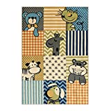 Rubber Backed 3'3'' x 5' Soft Kids Childrens ANIMALS Multi Color Playroom Nursery Educational Area Rug