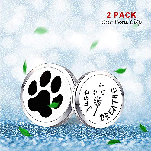 Mesinya 2PCS 30mm Car Diffuser Vent Clip Aromatherapy Essential Oil Stainless Steel Diffuser Locket 14pcs Felt Pads(1.18'' Just Breathe& Paw Print)